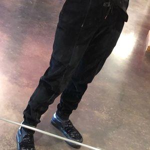 Ermanno Scervino Pants - Ermanno Scervino black velvet sweatpants 40